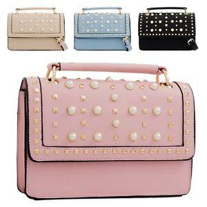 Ladies-Pearl-Stud-Satchel-Handbag-Girls-Studded-Shoulder-Bag-Satchel-Bag-KT2257