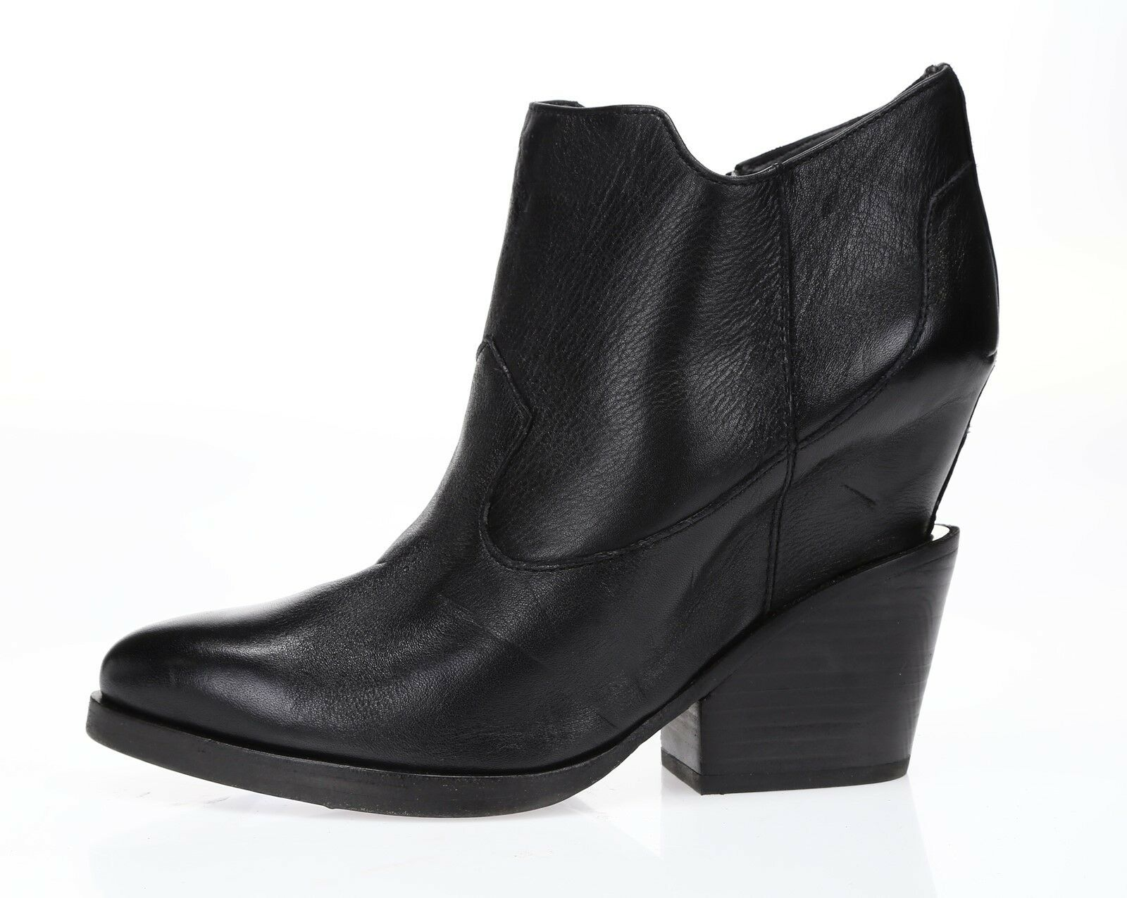 ASH Womens 'Lula' Black Leather Sz 39 Booties NEW  222357