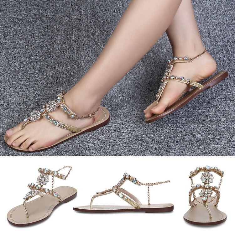 Sandals Women Summer Beach Gladiator Rhinestone Sandals Flip Flops Slippers Size