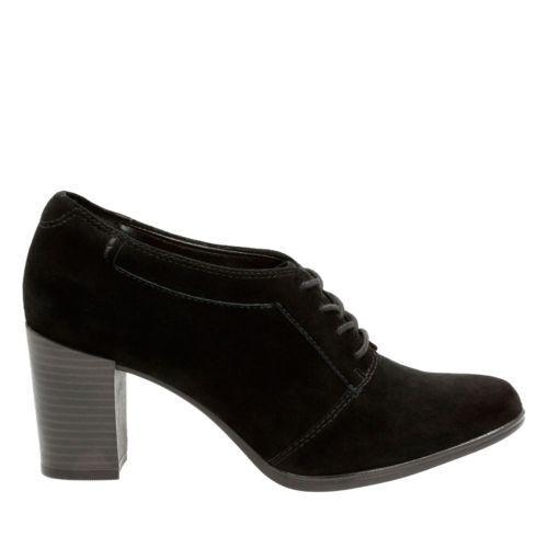 Clarks Women/'s Araya Hale Black Suede Pump Shoes 26121247