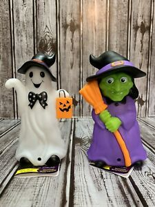NEW-Witch-amp-Ghost-Halloween-Motion-Activated-Light-amp-Sound-Lights-Up-5-75-Decor