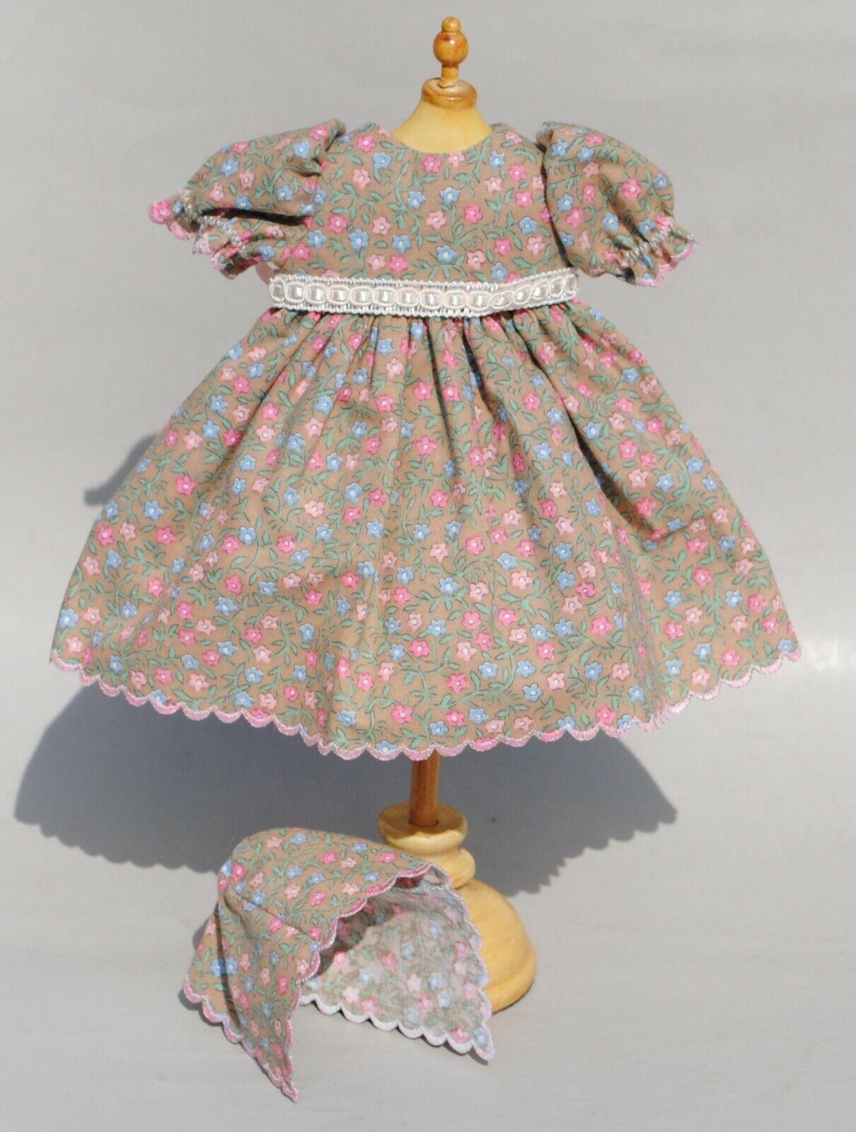 Para muñeca antigua francesa azulette Floral Vestido y sombrero de rosado Flores Azules encaja 11