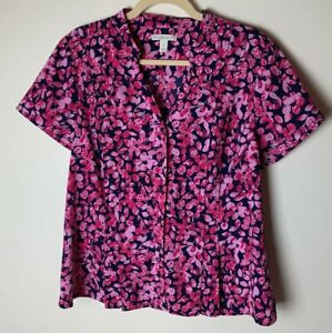 Dana Buchman Women's Blouse Size Large Top Short Sleeves Floral Casual Work
