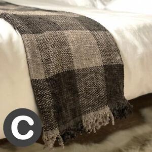 Luxury-Woollen-Touch-Silver-Dark-Grey-Large-Tartan-Bed-Sofa-Blanket-Throw-Thick