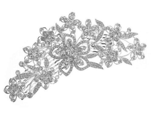 Bonnes Affaires Luxe Mariage Bijoux De Cheveux Peignes argent fleurs cristal clair 17 c