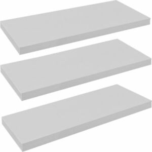 Harbour Housewares Pack of 3 Floating Wooden Wall Shelves 80cm - White