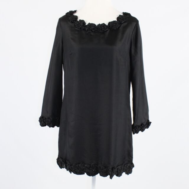 Black silk FRENCH CONNECTION applique & rhinestone trim 3/4 sleeve shift dress 8