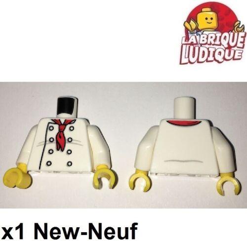 Lego 1x minifig torso torse veste chef cuisinier cook foulard 973pb2335c01 NEUF