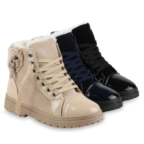 Warm Gefütterte Damen Stiefeletten Lack Winterboots Kunstfell 814087 Schuhe
