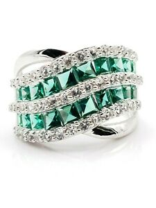 925 Sterling Silver Double Line Crystal pave Silver band Ring Glittering Emerald Crystal Ring