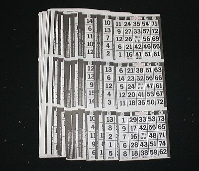 BINGO PAPER Cards 3 on 1 Blue Bdr Vertical 125 sheets  FREE SHIPPING US