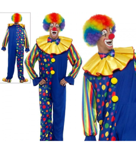 Deluxe Clown Men/'s Fancy Dress Costume circus fun smiffys colourful//light up tie