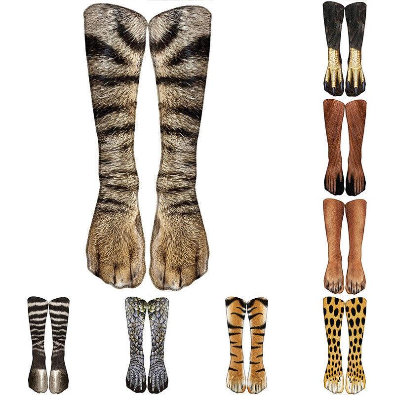 Warm 3D Printed Animal Print Socks Xmas Paw Crew High Ankle
