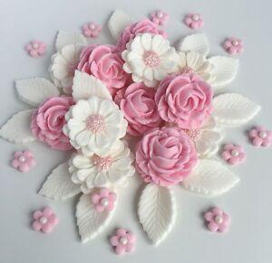 Détails Sur Rose Blanc Roses Bouquet De Mariage Fleurs Gâteaux Décorations Comestibles Gâteau Toppers Afficher Le Titre Dorigine