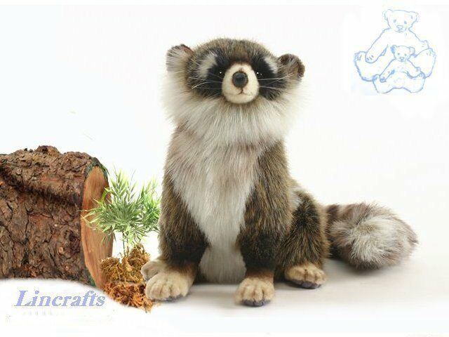 Hansa Sitting Racoon 4248 Plush Soft Toy Sold by Lincrafts Established 1993