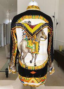 GIANNI-VERSACE-Native-Americans-silk-shirt-w-beaded-fringe-worn-Naomi-Campbell