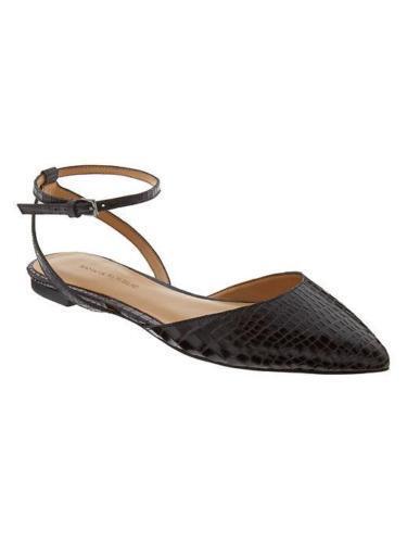 NEW Banana Republic Amanda Leather Ankle Strap Flats shoes Point Toe Snakeskin 7