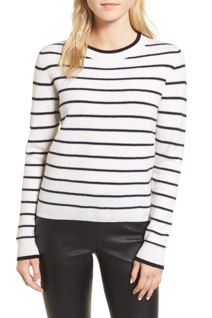 NEW Nordstrom Signature Stripe Cashmere Sweater in Navy Ivory - Größe M  S990