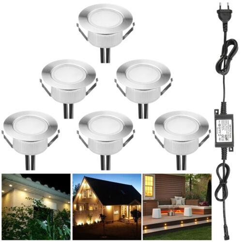 6er 12V 61mm LED Bodenstrahler Einbauleuchte Außen Garten Lampe Spot Warmweiß