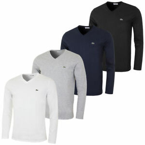 f34816c92f3a59 NEW MENS LACOSTE LONG SLEEVE REGULAR FIT PIMA JERSEY V-NECK T-SHIRT ...