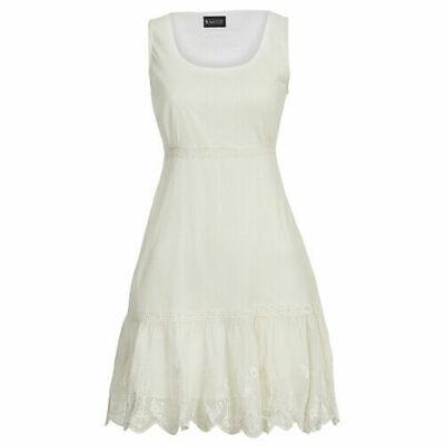 ZuverläSsig Laura Scott Italy Netz Kleid Mesh Sommer Strandkleid Hippy Elfenbein 32-34 Weiß Dauerhafter Service