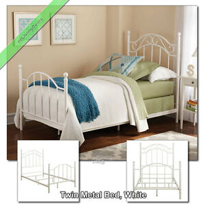 Details about Twin Metal Bed Frame for Girls Boys Children Bedroom  Headboard Footboard, White