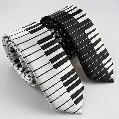 "2pcs of 2"" Slim Tie Polyester Black & White Piano keyboard SKINNY Tie Music Tie"