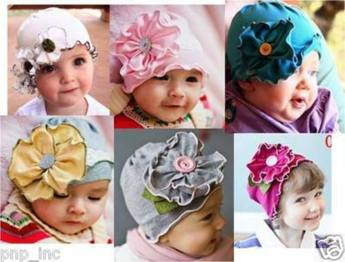 Simple Baby Toddler Girl Hat Cap Infant Flowers w/ Buttons Beanie Cotton - USA