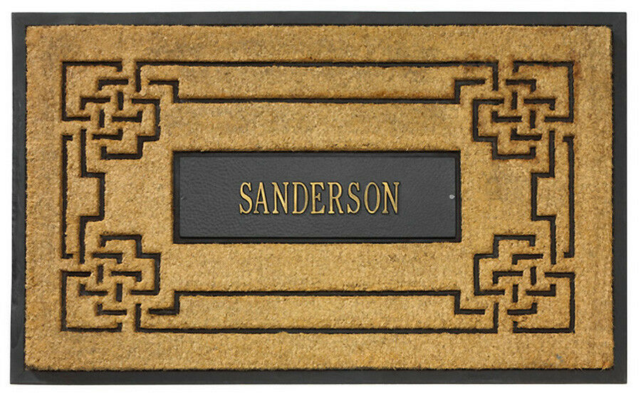 Biancahall Coir Knot  Knot Design  Doormat with Personalized Cast Aluminum Panel