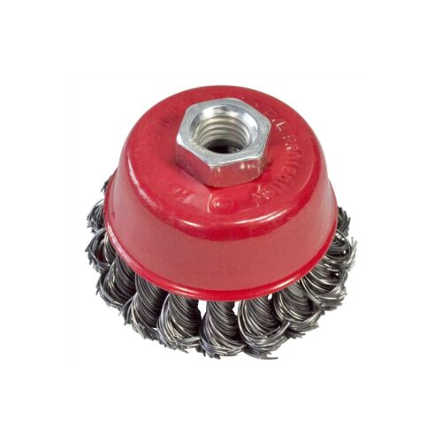 """3/"""" 80mm twist knot wire cup brush roue rotative nettoyage perceuse rouille removal neuf"""