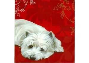 039-Brandy-Snap-039-Westie-Dog-festive-red-10-pack-of-small-Square-Christmas-cards