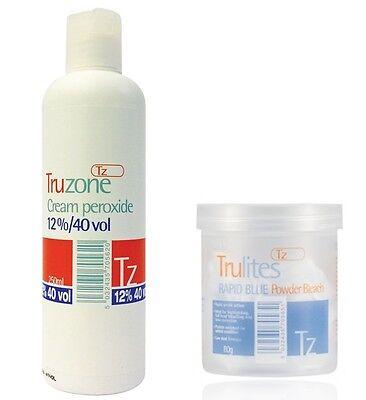TRUZONE CREAM PEROXIDE & RAPID BLUE POWDER BLEACH FOR HAIR COLOURING/HIGHLIGHTS