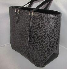 NWT $195 DKNY Black Heritage Coated LOGO & VACHETTA faux leather large tote bag
