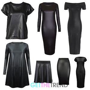Womens-PVC-Lack-optik-Kurzaermeliges-Top-Midirock-Bleistiftrock-Kunstleder-Kleid