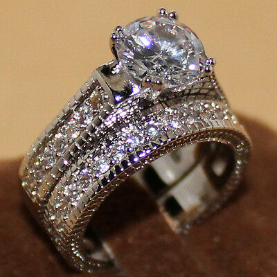 Womens Vintage White Sapphire Diamonique 925 Silver 2-in-1 Wedding Band Ring Set