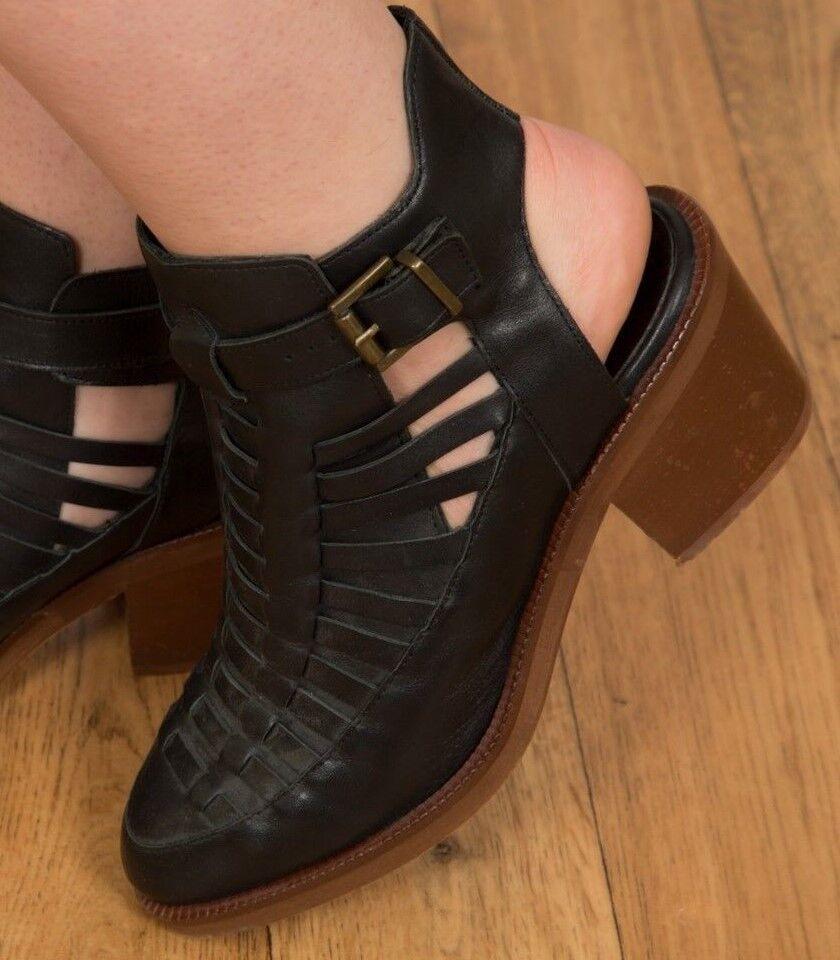 Vintage style schwarz lattice ankle open back Kurt Geiger ankle lattice Stiefel Festivalwear sz 6 d95411