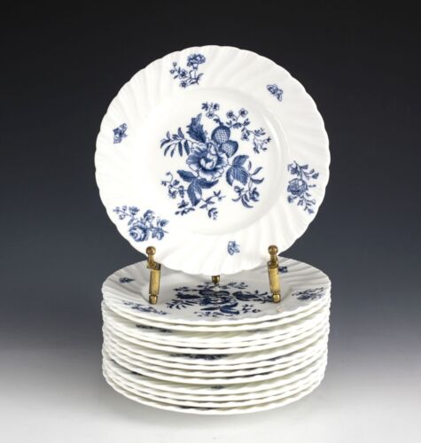 "14pc Royal Worcester Blue Spray Bread Plates, 6 18"" White plate, swirl fluted"