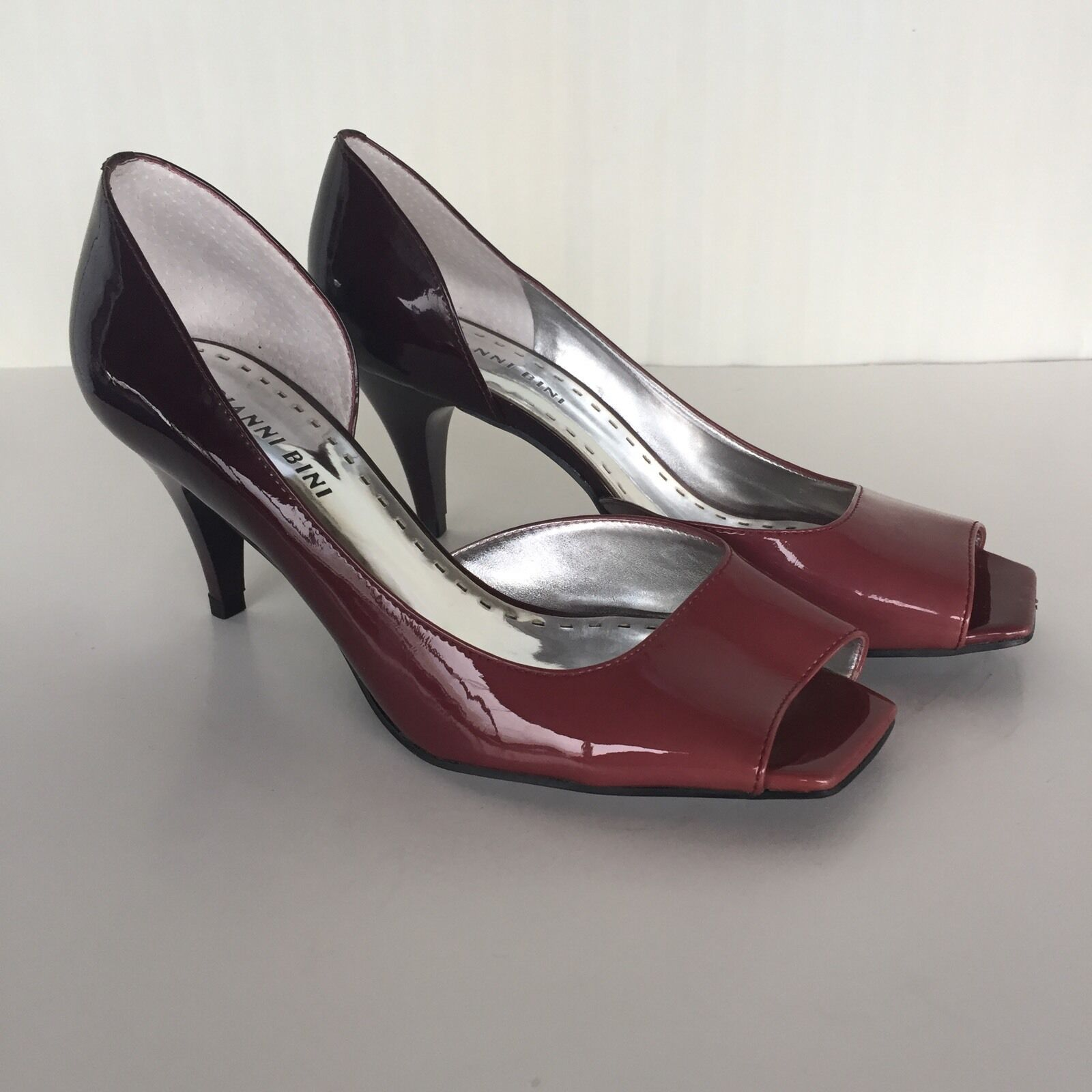 "Gianni Bini Sz 7.5M Shoes 3"" High Heel Hombre Patent Shiny Square Open Peep Toe"