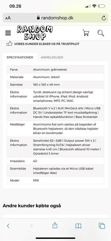 Højttaler, Andet mærke, Jonter M16 bluetooth højtaler