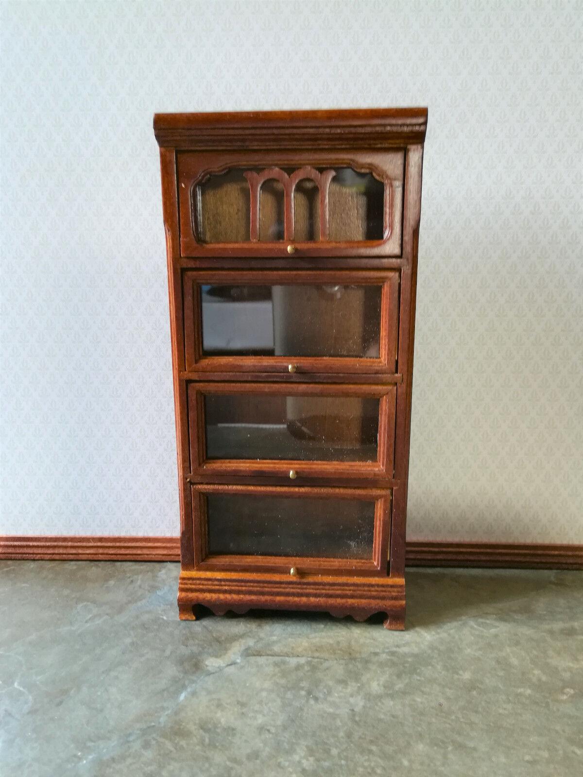 Dollhouse Miniature Barrister Bookcase Walnut 1 12 Inch Scale F42 Dollys Gallery