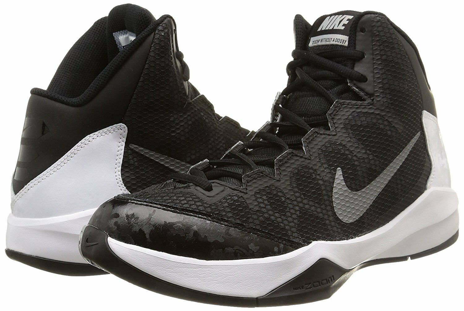 Men's Nike 002 Zoom Without a Doubt Basketball Shoes, 749432 002 Nike Sizes 8-12 Black/Si 822865