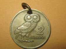 23MM GREEK GREECE ATHENA OWL COIN CHARM PENDANT NECKLACE PHOENIX BIRD
