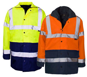 Hi-Vis-Visibility-Two-2-Tone-Parka-Jacket-Waterproof-Coat-Work-Wear-Hi-Viz
