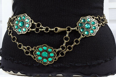 Emerald Green on Old Brass European Fashion Chain Belt  S/M/L -  MADE IN ITALY