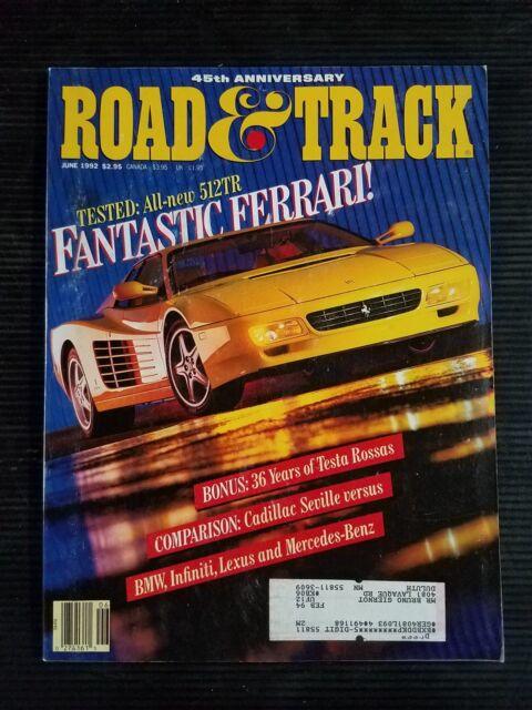 Road & Track June 1992 - 1993 Dodge Intrepid - Ferrari Testarossa - Ford Probe