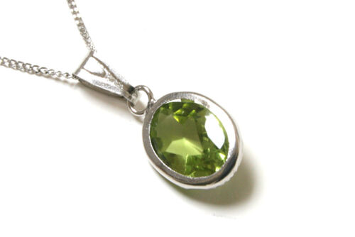 9ct White Gold Oval Peridot Necklace Pendant and Chain Made in UK Boxed