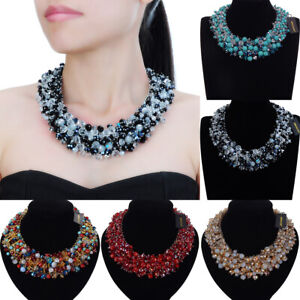 Fashion-Women-Statement-Chunky-Chain-Resin-Crystal-Choker-Bib-Necklace-Jewelry