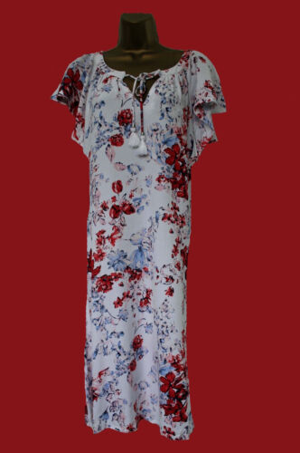 NEW M*S M*rks and Spencer White Red Blue Floral Summer Sun Dress 8-22