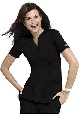 Cherokee Medical Scrubs Black Premium Core Stretch Mock Wrap Top Sz XS-XXL NWT