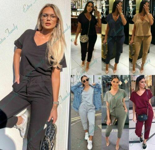 Details about  /Women/'s Ladies Short Sleeve V Neck Boxy Tracksuit Loungewear Comfy 2PCS Suit Set